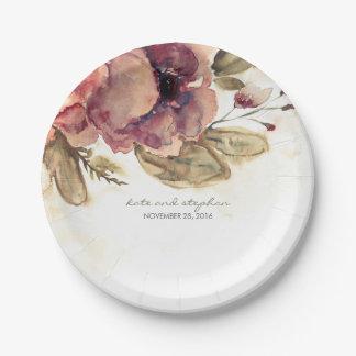 Burgundy Watercolor Flowers Vintage Fall Paper Plate