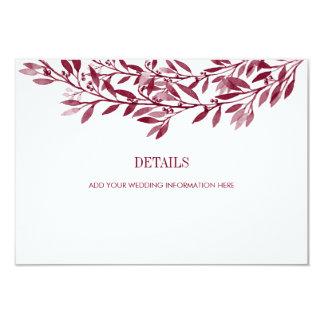 Burgundy Watercolor Laurel Wreath Wedding Details Card