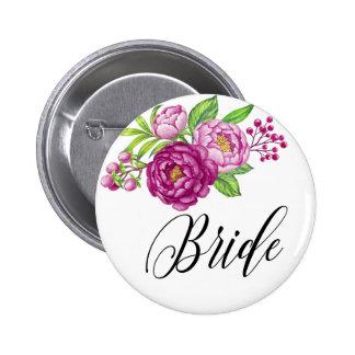Burgundy Watercolor Peonie Bride 2 Inch Round Button