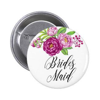 Burgundy Watercolor Peonie Brides Maid 2 Inch Round Button