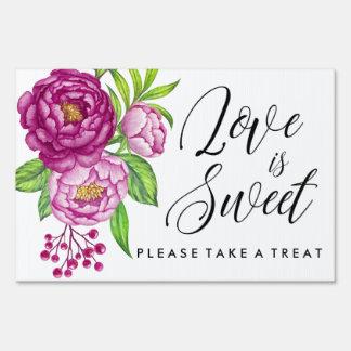 Burgundy Watercolor Peonies Love is Sweet Sign
