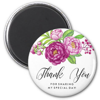 Burgundy Watercolor Peonies Thank You Magnet