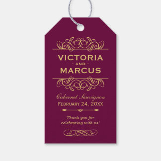 Burgundy Wedding Wine Bottle Monogram Favour Tags Pack Of Gift Tags