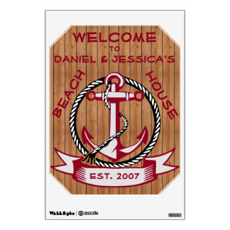 Burgundy Welcome Anchor on Natural Planks Sign Wall Sticker