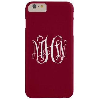 Burgundy White 3 Initials Vine Script Monogram Barely There iPhone 6 Plus Case