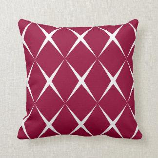 Burgundy White Diamond Pattern Throw Pillow