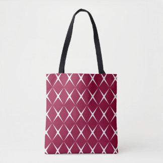 Burgundy White Diamond Pattern Tote Bag