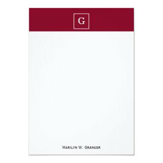 """Burgundy White Framed Initial Monogram 5"""" X 7"""" Invitation Card"""