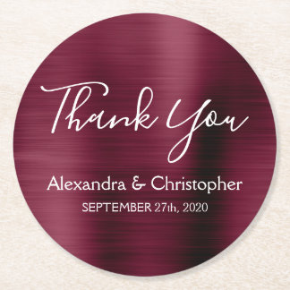 Burgundy & White Modern Wedding Thank You Round Paper Coaster