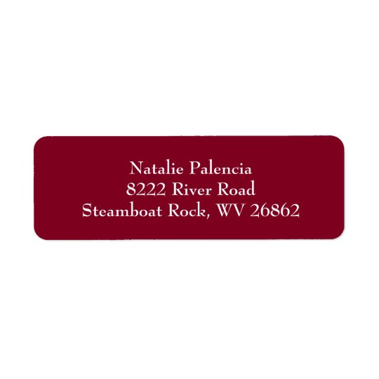 Burgundy & White Plain Return Address Labels