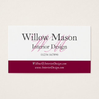 Burgundy & White Professional Business Card