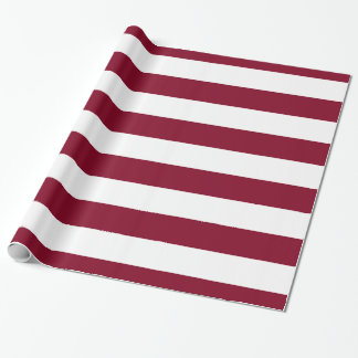 Burgundy, White XL Stripes Pattern Wrapping Paper