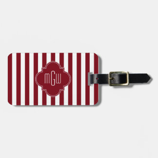 Burgundy Wht Stripe Burgundy Quatrefoil 3 Monogram Luggage Tag