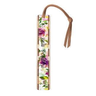 Burgundy Wine and Pink Watercolor Floral Bookmark