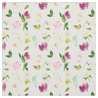 Burgundy Wine and Pink Watercolor Floral Fabric