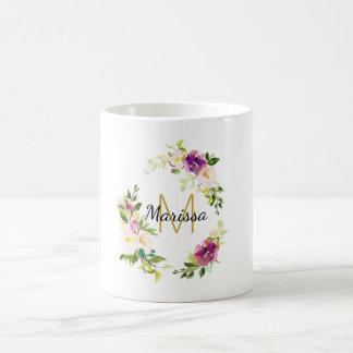 Burgundy Wine and Pink Watercolor Floral Monogram Coffee Mug