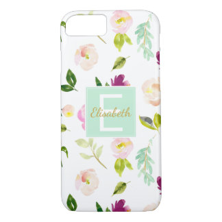 Burgundy Wine and Pink Watercolor Floral Monogram iPhone 8/7 Case