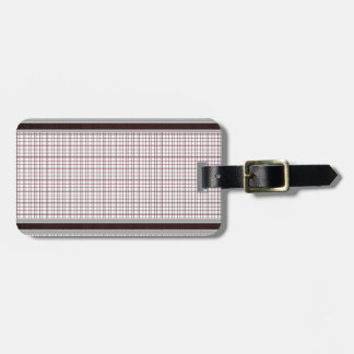 Burgundy Wine and White Checkered Pattern Luggage Tag