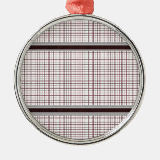 Burgundy Wine and White Checkered Pattern Metal Ornament