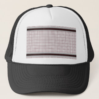Burgundy Wine and White Checkered Pattern Trucker Hat