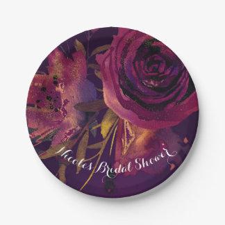 Burgundy Wine Floral Rose Purple Bridal Shower Paper Plate