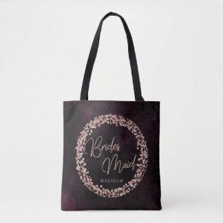 Burgundy Wine & Rose Gold Bridesmaid Monogram Tote Bag