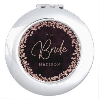 Burgundy Wine & Rose Gold Confetti Wedding Bride Vanity Mirrors