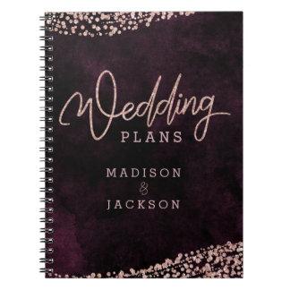 Burgundy Wine Rose Gold Confetti Wedding Planner Notebooks