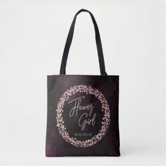Burgundy Wine & Rose Gold Flower Girl Monogram Tote Bag
