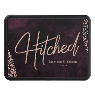 Burgundy Wine & Rose Gold Glam Wedding Hitched Trailer Hitch Cover