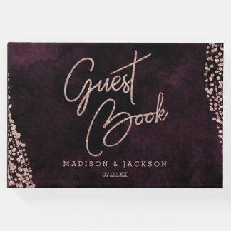 Burgundy Wine & Rose Gold Glam Wedding Monogram Guest Book