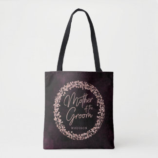 Burgundy Wine & Rose Gold Mother of the Groom Tote Bag