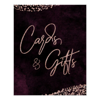 Burgundy Wine & Rose Gold Wedding Cards & Gifts Poster