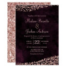 Burgundy Wine & Rose Gold Wedding Invitation