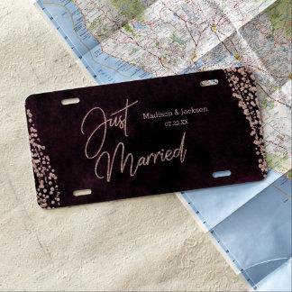 Burgundy Wine & Rose Gold Wedding Just Married License Plate