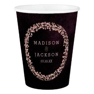 Burgundy Wine & Rose Gold Wedding Monogram Paper Cup