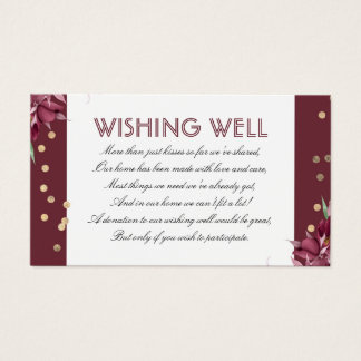 Burgundy Wishing Well Floral and Gold Confetti Business Card