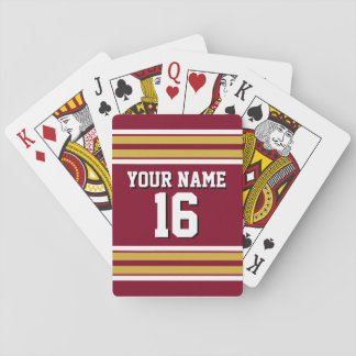 Burgundy with Gold White Stripes Team Jersey Playing Cards