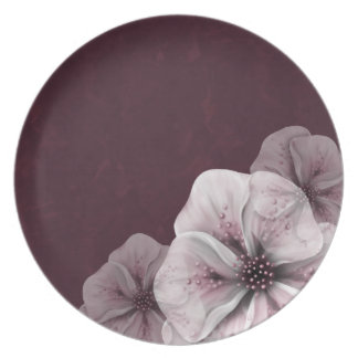 Burgundy With Pale Pink Flowers Plate