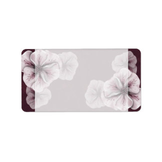 Burgundy with Pink Flowers Label