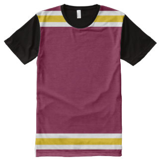 Burgundy with White and Gold Trim