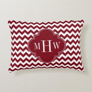 Burgundy Wt Chevron Burgundy Quatrefoil 3 Monogram Decorative Pillow