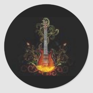 Buring guitar round sticker