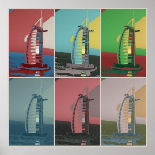 Burj Al Arab Hotel Dubai pastel pop art Print