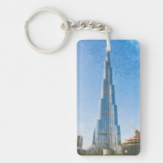 Burj Khalifa, Dubai painting Double-Sided Rectangular Acrylic Keychain