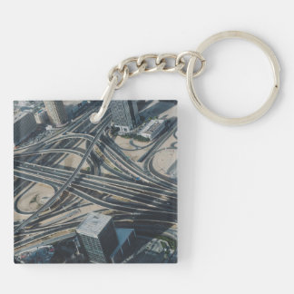Burj Khalifa road view, Dubai Double-Sided Square Acrylic Keychain