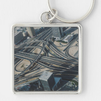 Burj Khalifa road view, Dubai Silver-Colored Square Keychain