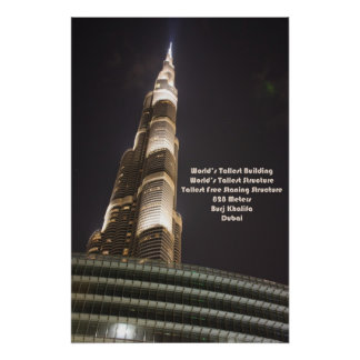 Burj Khalifa, The World's Tallest Building, Dubai Poster