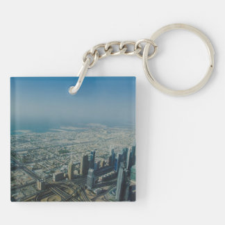 Burj Khalifa view, Dubai Double-Sided Square Acrylic Keychain