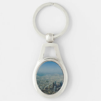 Burj Khalifa view, Dubai Silver-Colored Oval Keychain
